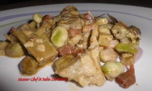 Carciofi con Pancetta Affumicata e Fave